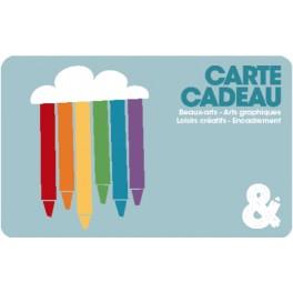 Carte cadeau bleue motif crayons